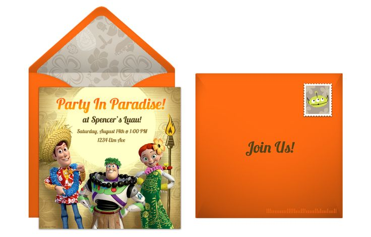 Plan a Tropical Toy Story Summer Luau! Start with a free online invitation.