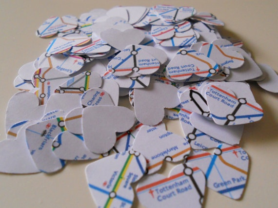 500 London Subway paper hearts. Wedding and Party Confetti - London Tube - World Map. $9.00, via Etsy.