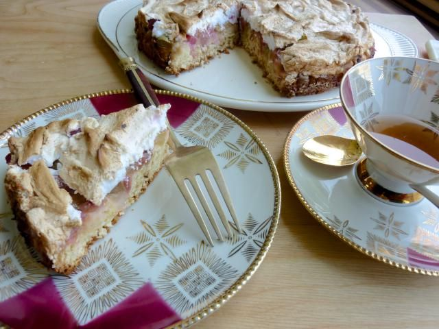A low sugar yeast cake studded with rhubarb topped with baked meringue: Rhubarb Meringue Cake