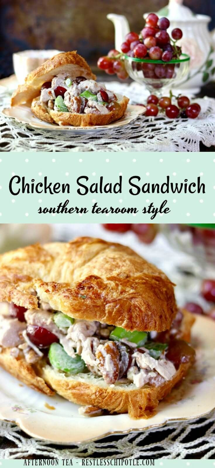 Best chicken salad sandwich recipe ever -with red grapes and toasted pecans. Made with cubed chicken breast - southern tearoom style. Perfect for croissants. #SundaySupper  From RestlessChipotle.com via @Marye at Restless Chipotle