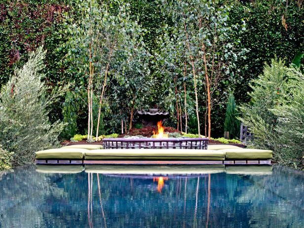 Poolside fire pit and lounge area