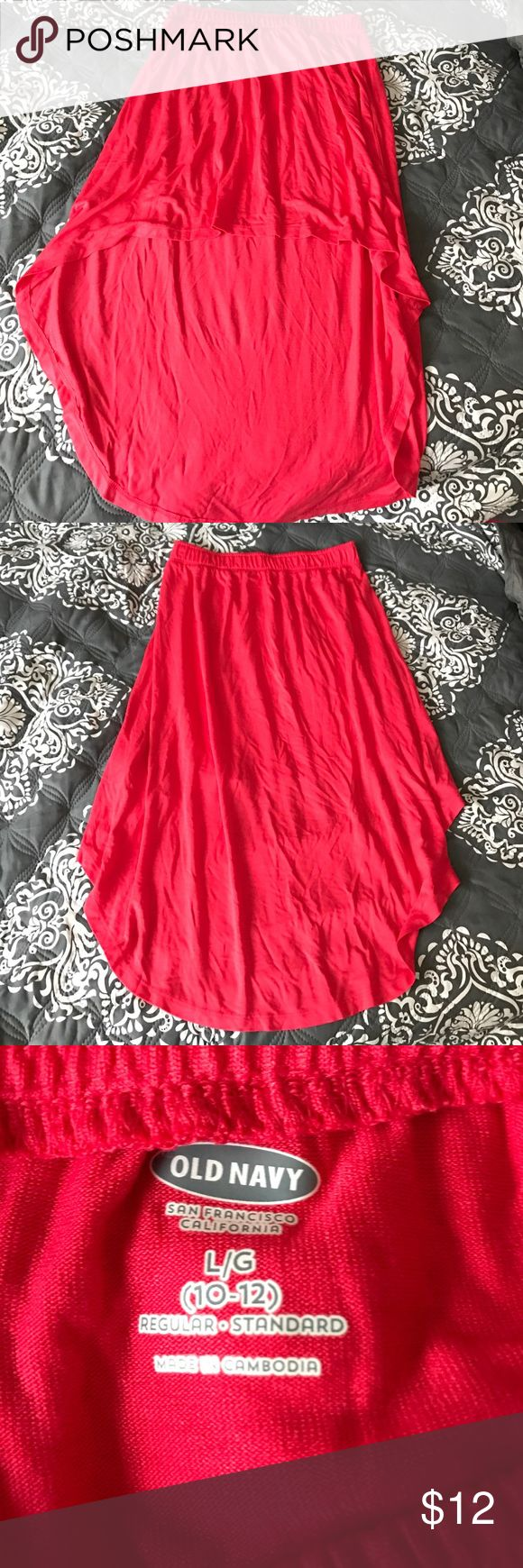 High-low skirt ✌🏻️please read description! ✨ Cute high-low skirt in perfect condition! Never worn, it was bought as a skirt but it is unfortunately a little see thru, so it would be perfect as a swimsuit coverup! Great for those days at the beach 🌊 it's a child's large but fits a woman's extra small or small perfectly!! Old Navy Bottoms Skirts