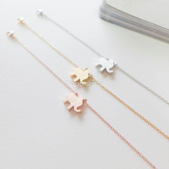 tiny elephant bracelet in gold, silver or rose gold, layering bracelet, simple elephant on Etsy, $11.80
