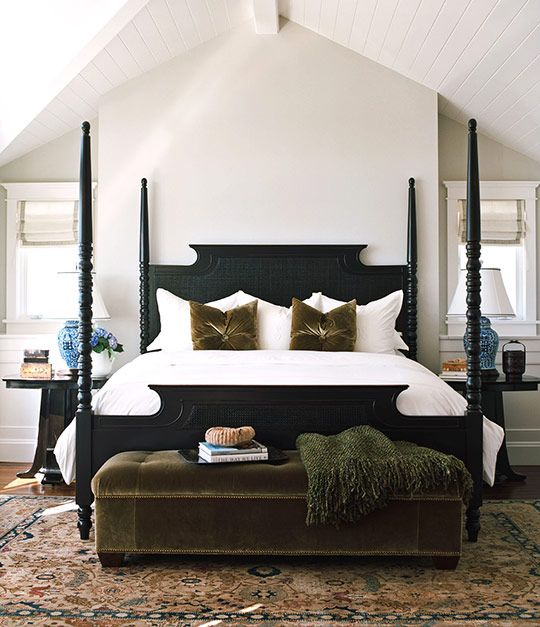 Inspiring Master Bedrooms featured on Traditional Home®.  Traditional bed with hints of modern touches.  Love it.