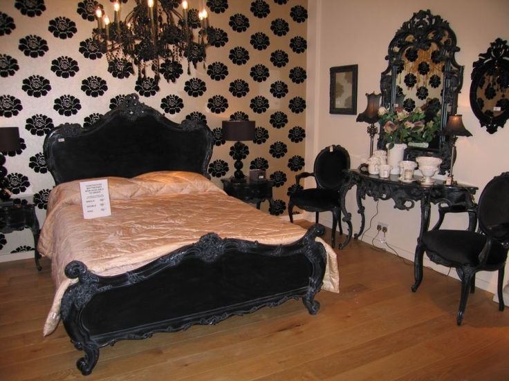 victorian style black and white chair | Very nice black antique bedroom furniture, coming in french style ...