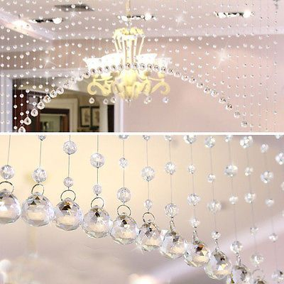 Luxury Glass Crystal Clear Beads Hanging Curtain Room Window Door Décor 1 String