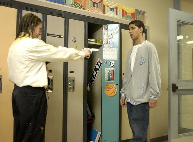 Drake shooter -- This was the scene that broke my heart when Jimmy got shot trying to protect the schools and ended up in a wheelchair the remainder to the Series.  Still image from the Television show Degrassi. #drake #tv