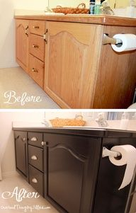 Get rid of that builder grade oak! Use GEL stain. Good to know for the inevitable un-remodeled kitchen!!! Also, see tip about adding trim pieces to existing cabinets.