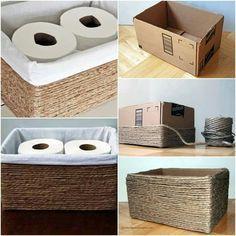 Una canasta para guardar nuestras cositas dentro del baño, suuuper sencilla...utilizando cordón de yute es una manera, pero tantos materiales que hay, solo es cosa de que tu escojas y puedas crear maravillas con la simplicidad de las cosas.