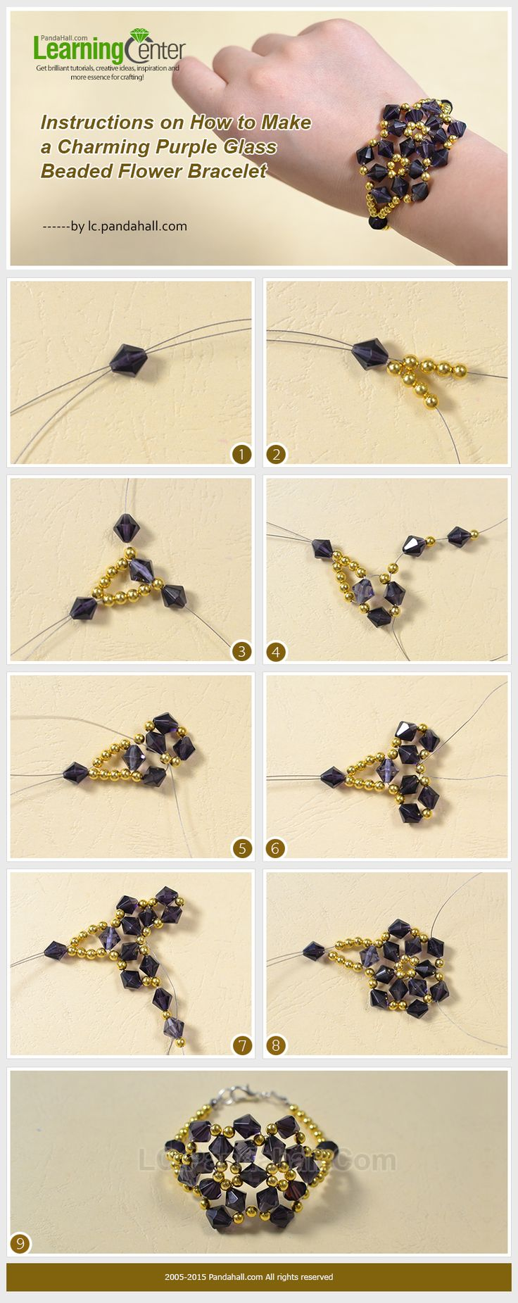 Beads instructions - Instructions On How To Make A Charming Purple Glass Beaded Flower Bracelet