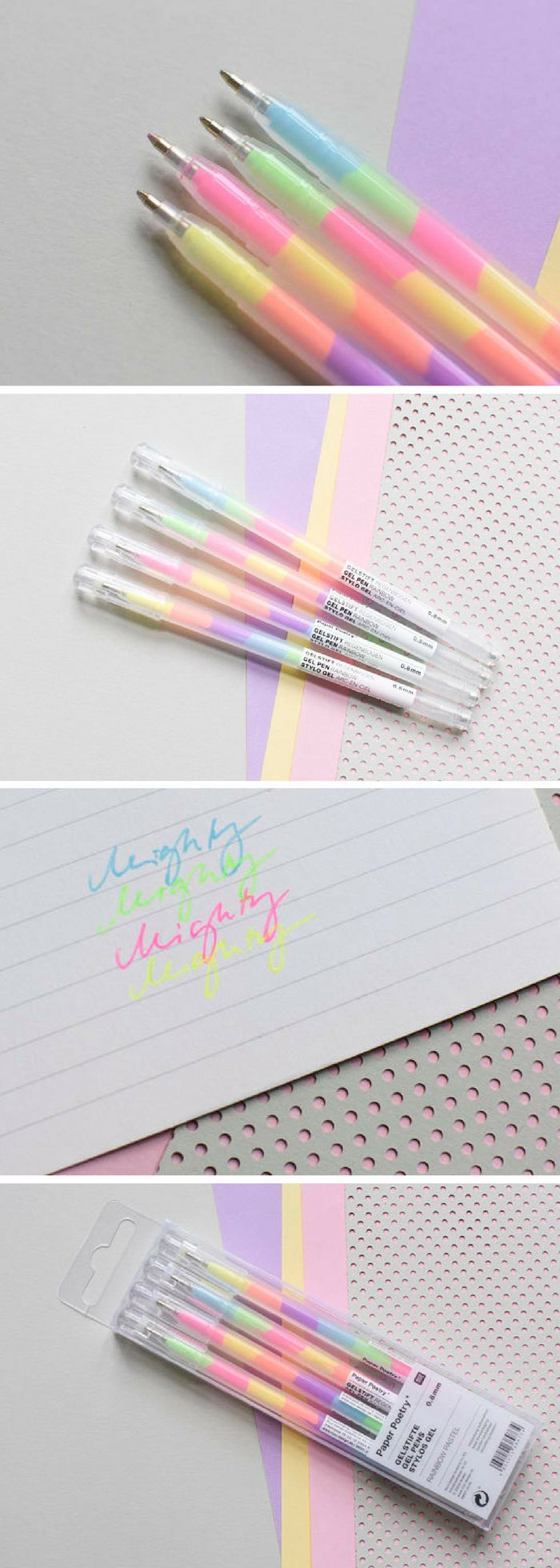 Found on Etsy! I always loved these multicolored pens when I was little, and I just realised how much fun they would be for my bullet journal haha. Just can't get enough cute stationery. #ad #pens #pastel #stationery #kawaii