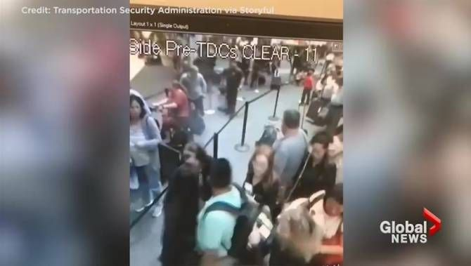 TSA agent removes smoking bag at airport in scary moment caught on camera https://tmbw.news/tsa-agent-removes-smoking-bag-at-airport-in-scary-moment-caught-on-camera  Surveillance footage released by the TSA shows the moment a smouldering bag was quickly moved away from a passenger line by a level-headed TSA officer.The incident, which occurred at the Orlando airport late Friday afternoon and captured on video, shows TSA officer Ricardo Perez grabbing the smoking bag and placing it between…