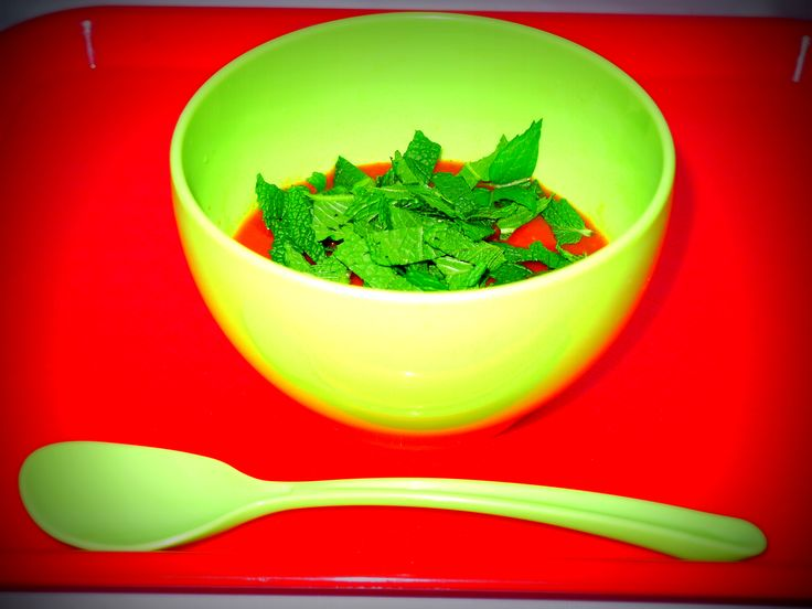 It is a rice milk soup perfect for breakfast that contains the rice milk in vegetable broth of tomato soup. Weight loss effect when larger amount for topping a fresh peppermint is excellent.