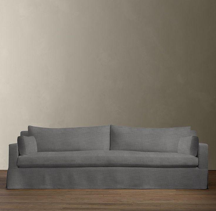 Restoration Hardware Sofa In Textured Perennials Fog
