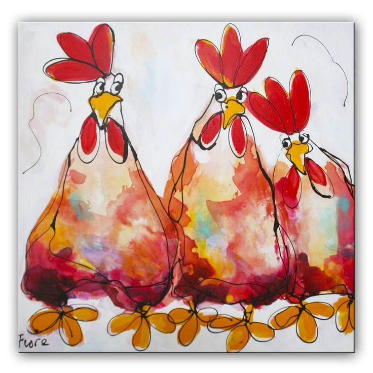 Schilderij Wat is er gebeurd?  Er is iets aan de hand met de kippen, maar wat?  Het kleurrijke schilderij is door onze kunstenaars met een aquareleffect geschilderd Hierdoor loopt de verf mooi in elkaar over en krijgt de verf een spontaan karakter. De lijnen zijn trefzeker neergezet, de kleuren zijn vrolijk en warm, maar ogen rustig.