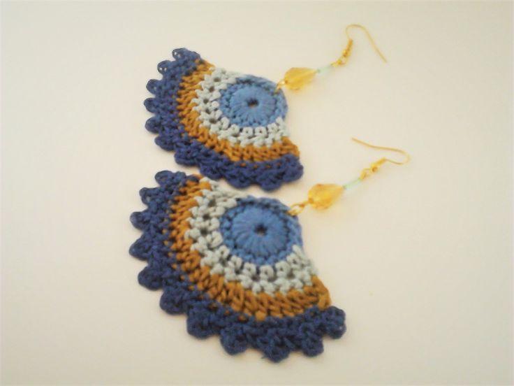 Crochet Jewelry-Boho Chic Jewelry- Statement Earrings- Ethnic Tribal-Dangle Earrings- Semicircle Statement Earrings by TwisttheCord on Etsy https://www.etsy.com/ca/listing/399044055/crochet-jewelry-boho-chic-jewelry