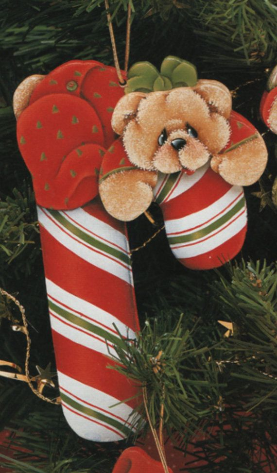 6 Candy Cane Teddy ornaments design by by OurPricelessTreasure