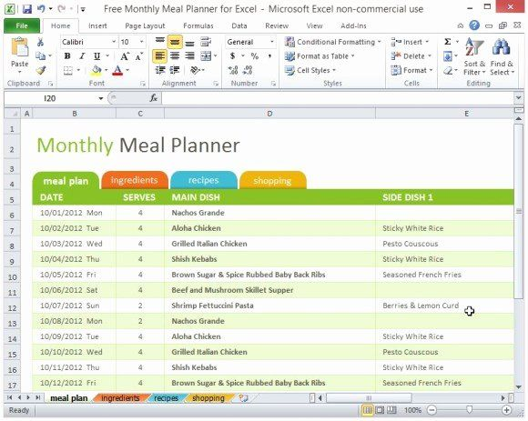 Monthly Meal Planner Template New Free Monthly Meal Planner For