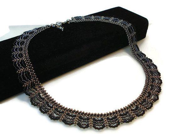 Black Beadwork Necklace Black Hematite Gray Necklace by FIGENTAKI