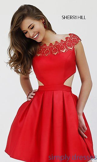 Short Cap Sleeve Dress with Cut Outs by Sherri Hill at SimplyDresses.com