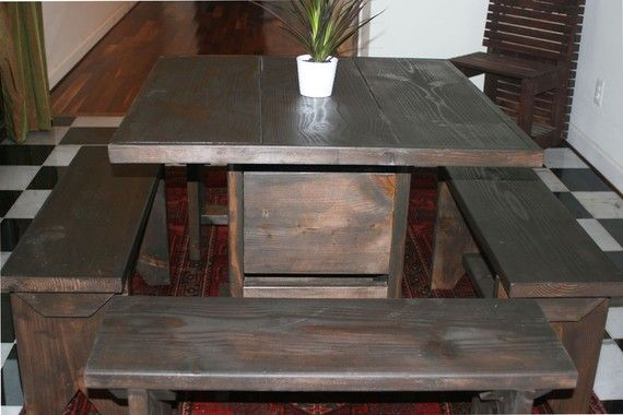3 foot table and 4 benches by ModernRust on Etsy, $459.00