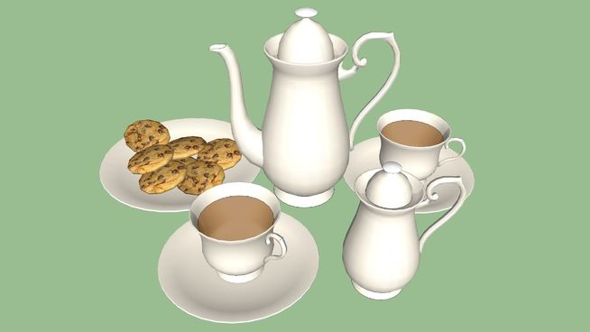 Large preview of 3D Model of tea set beige
