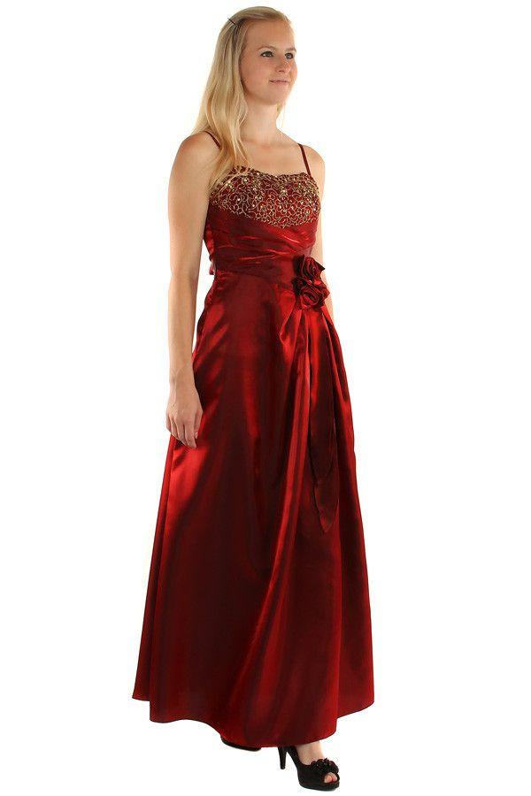 Dlouhé lesklé večerní šaty se zlatou výšivkou - koupit online na Glara.cz   damskesaty 3486184914