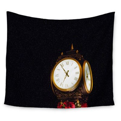 "East Urban Home Xmas Clock by Robin Dickinson Wall Tapestry Size: 60"" H x 80"" W"