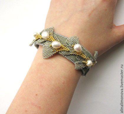Beaded bracelet / Браслеты ручной работы. Браслет Гинкго. Алина Лимонова. Ярмарка Мастеров. Плетеные листья, металлическая фурнитура