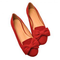 Wholesale Casual Women's Flat Shoes With Suede Solid Color Bow Design (RED,39), Flats - Rosewholesale.com
