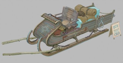 The idea that Kristoff was an ice harvester came late in production. What he originally was I have no clue, but here are his before and after sleigh.