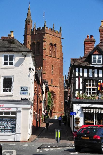 The medieval town of Bridgnorth in Shropshire, England with the 12th century St Leonard's church