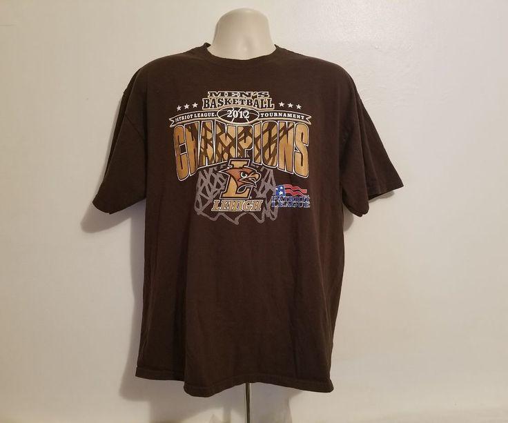 LeHigh 2012 Men Basketball Patriot League Tournament Champions Brown XL T-Shirt #TriLake