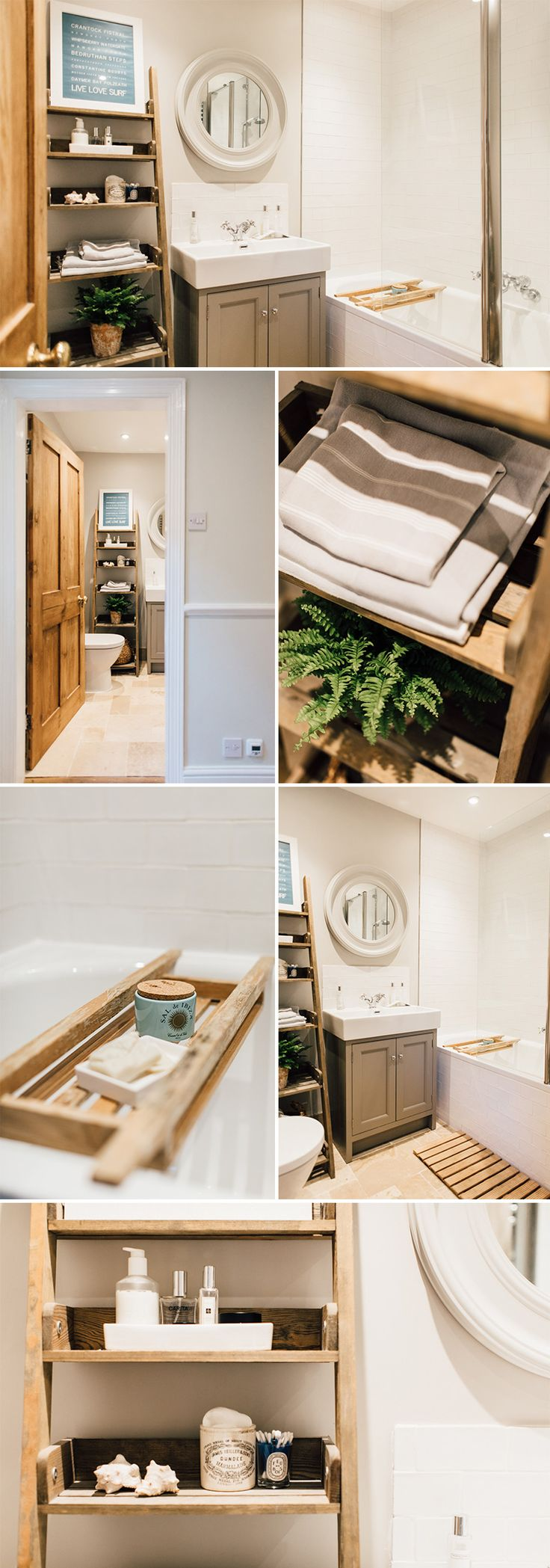 a modern country bathroom | Ladder shelf | how to style a ladder shelf | topps tiles inspiration | rope rhodes sink | White company mirror | ocean inspired bathroom | laura ashley tiles | bath tidy