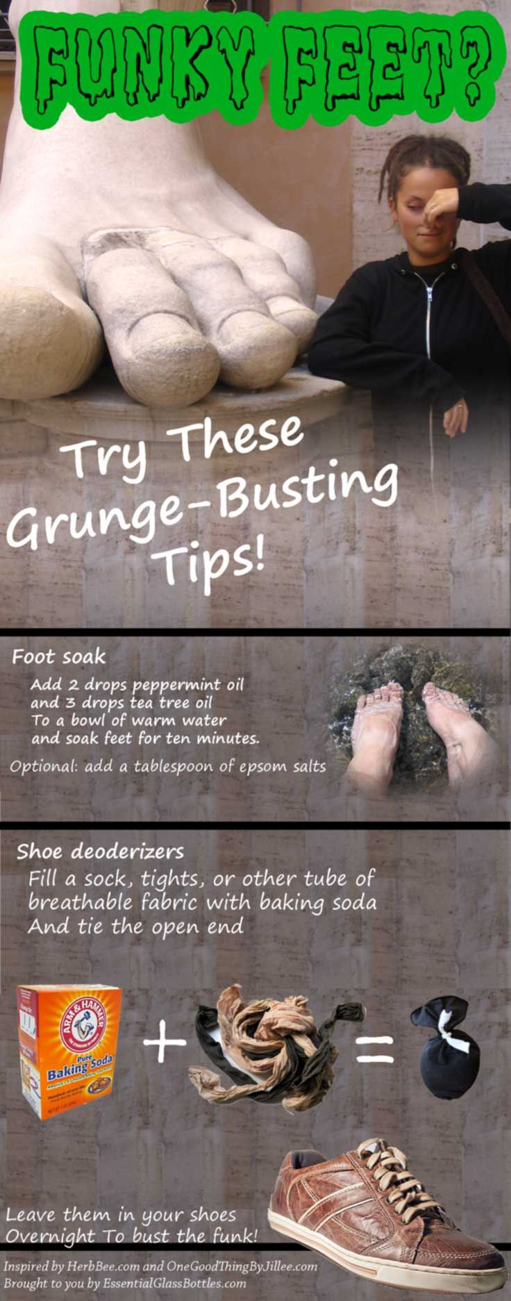Fight food odor naturally! This easy recipe uses essential oils and a warm foot bath to neutralize funky feet.   It also includes a great DIY shoe stink killer that uses baking soda to get rid of smelly foot odors inside your shoes.  source:   http://essentialglassbottles.com/blogs/bottle-blog/51466629-fight-foot-funk  Inspired by http://www.herbbee.com/essential-oil-recipes/foot-baths/  and   http://www.onegoodthingbyjillee.com/2013/03/home-remedies-for-stinky-shoes-and-feet.html