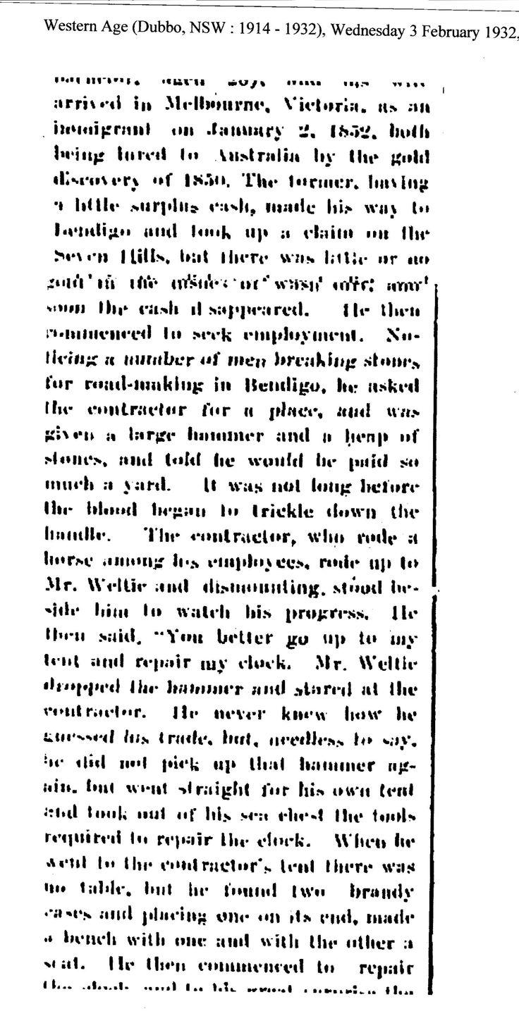 Part 2 Peter Weltie, Cobar, 1932.