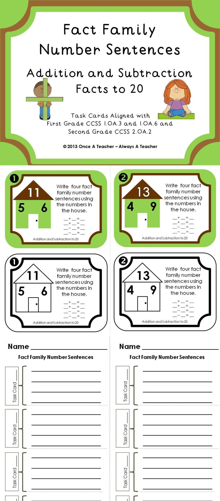 fact family number sentences addition and subtraction facts to 20 fact families activities. Black Bedroom Furniture Sets. Home Design Ideas