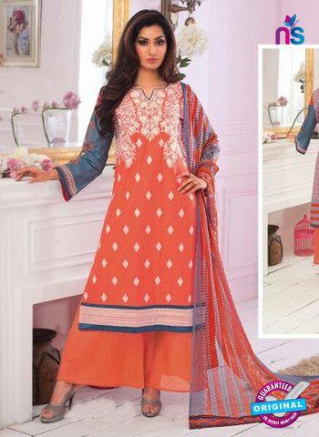 Rivaa14704A - Orange & Green Color Cotton Designer Suit