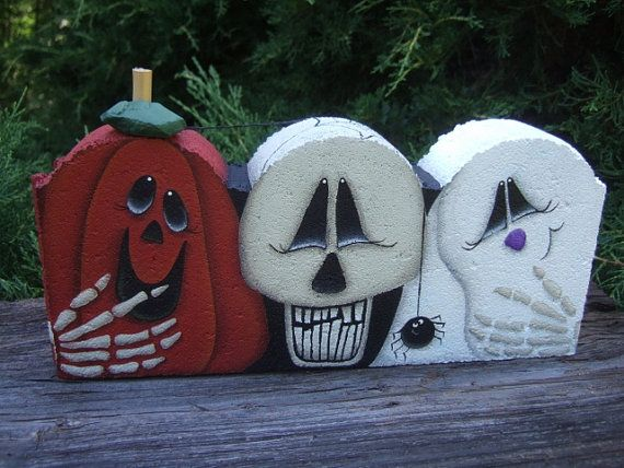 Halloween Painted Paver with Pumpkin, Skull and Ghost