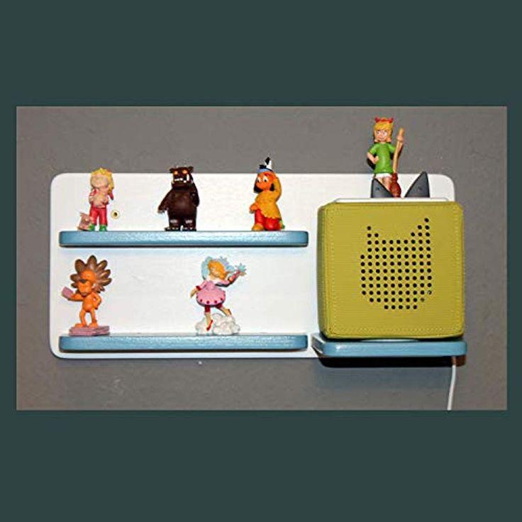 Regal für Toniebox und Figuren Tonie Tonies  für Kinder aus Holz – Kinderregal für Audio Musikbox Figuren – weiß hellblau – Kinderzimmern #Handmad…