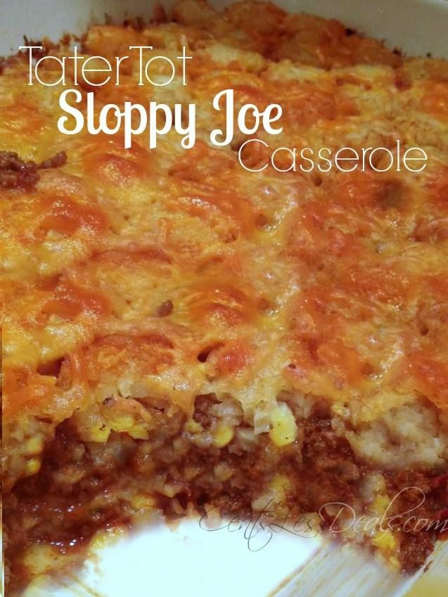 "Sloppy Joe Tater Tot Casserole recipe. One pinner said ""I was hesitant to try this but it was super fast and easy so I gave it a try. It's surprisingly good! Even my picky eaters asked for seconds! I'll definitely be making this again!"""