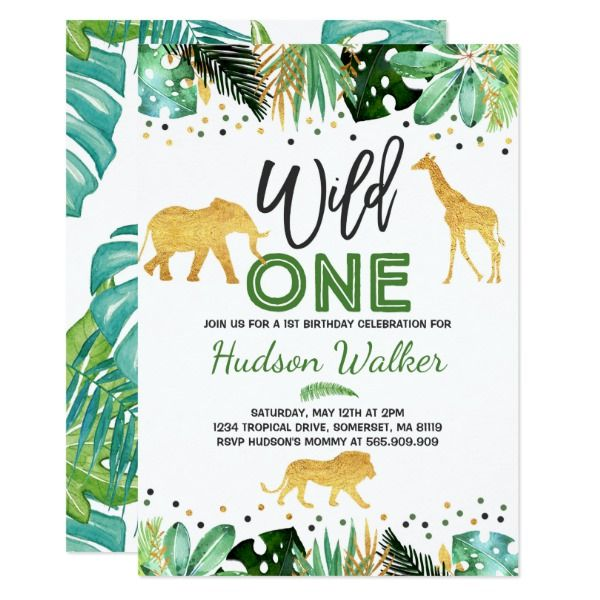 Wild One Birthday Invitation Jungle Animals Party Invitations