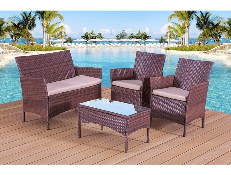 rattan garden furniture set outdoor patio chairs table conservatory 4 piece sets