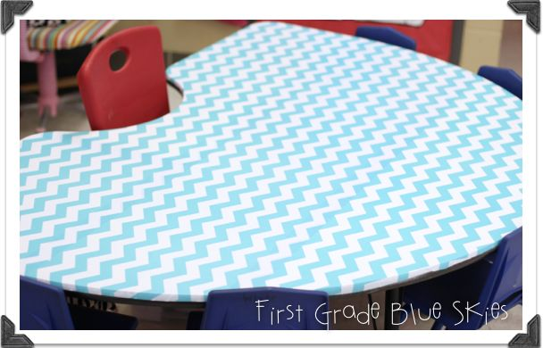 First Grade Blue Skies: Monday Made It! Chevron Covered Table!