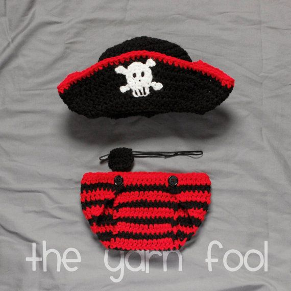 Pirate Hat with Diaper Cover and Eye Patch Newborn by TheYarnFool, $30.00