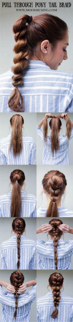 Pull Through Braid Pony Tail Step by Step Hair Tutorial Moo's Musing