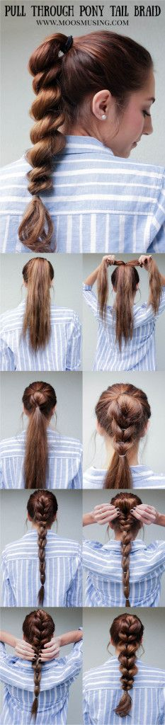 Pull Through Braid Pony Tail Step by Step Hair Tutorial Moo's Musing