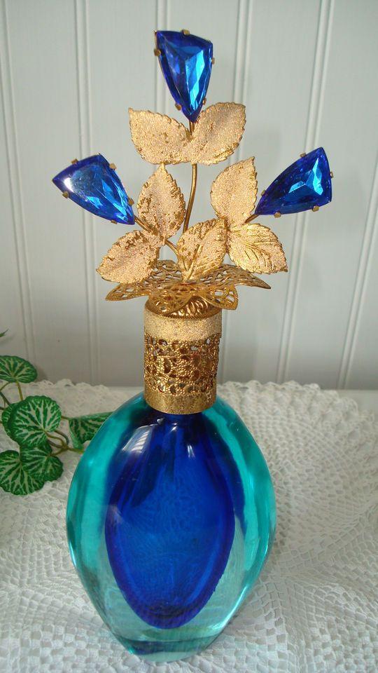 "Antique/Vtg Irice Murano/DeVilbiss Jeweled Perfume Bottle ~10"" Sapphire Beauty"