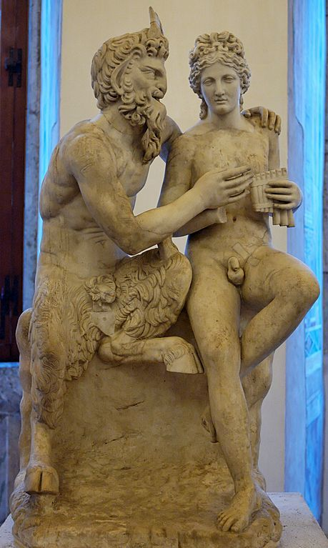 Pan teaching Daphnis to play the flute. Marble, Roman copy after an Hellenistic original. Pan's and Daphnis' heads and Daphnis' right arm are restorations,  Ludovisi Collection in Museum of Naples