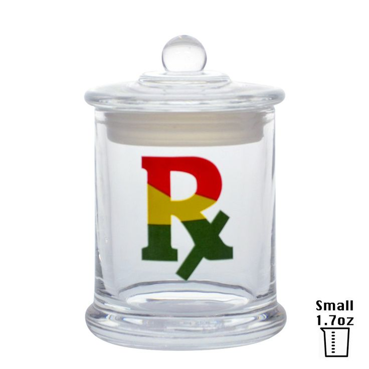 Vapors & Things Clear Glass Odorless Medical Herb Jar Stash Container (Small - 1.7oz, RX)